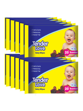 Tender Love Powder Scent Baby Wipes 20's (12-Pack)