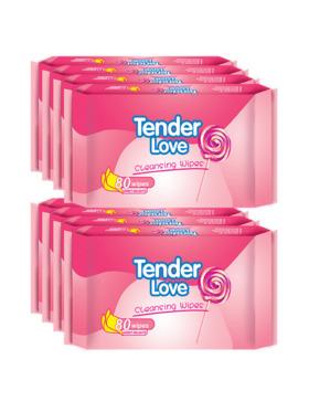 Tender Love Sweet Delights Cleansing Wipes 80's (8-Pack)