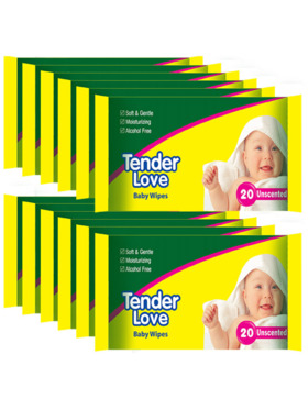 Tender Love Unscented Baby Wipes 20's (12-Pack)