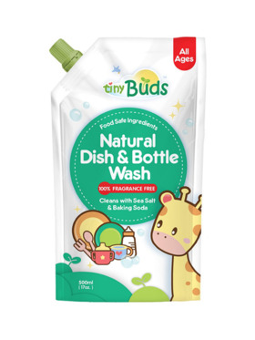 Tiny Buds Natural Dish & Bottle Wash Fragrance-Free Pouch (500ml)