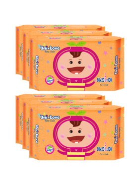 Uni-love Powder Scent Baby Wipes 100's (6-Pack)
