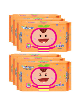 Uni-love Powder Scent Baby Wipes 70's (6-Pack)