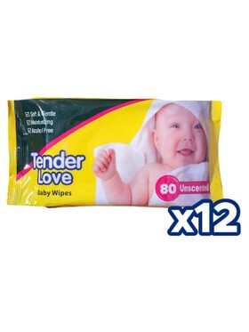 Tender Love Unscented Baby Wipes 12-Pack (80s)