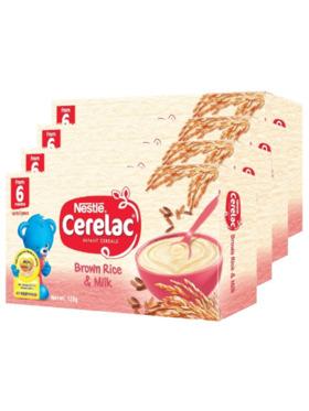 Nestle Cerelac Baby Food Brown Rice & Milk (120g) Bundle of 4