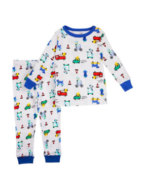 Little Steps Cars & Puppies 2-Piece Long Sleeves PJs