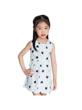 INSPI Kids Girls Dress Heart Prints Sleeveless Dress