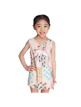 INSPI Kids Girls Dress Colorful Floral Prints Sleeveless Dress