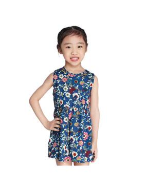 INSPI Kids Girls Dress Floral Prints Sleeveless Dress
