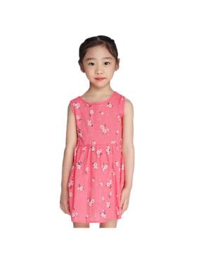 INSPI Kids Girls Dress Flower Prints Sleeveless Dress