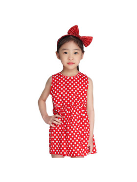 INSPI Kids Girls Dress Polkadots Prints Sleeveless Dress