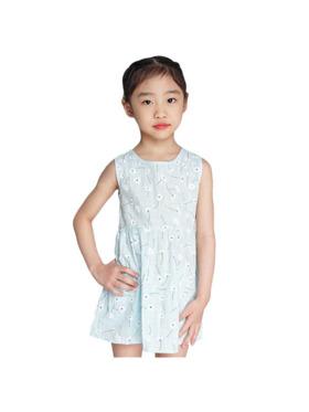 INSPI Kids Girls Dress Ribbon Prints Sleeveless Dress