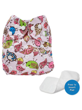 Little Steps Birds Reusable Cloth Diaper
