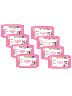Playful Anti-Bacterial All Purpose Wipes 15s (Pack of 8)
