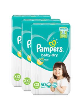 Pampers Baby Dry Taped XXL Bundle 3 x 50pcs (150 pcs)