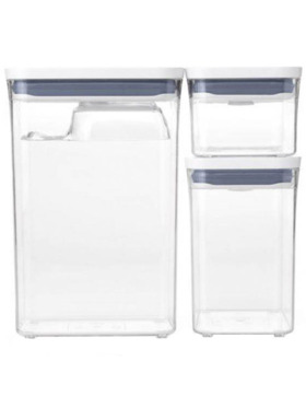 Oxo Tot Good Grips POP Container, Three-Piece Rectangle Set with Scoop