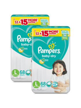Pampers Baby Dry Taped Super Jumbo Large 2-Pack (2 x 68pcs) - Subscription