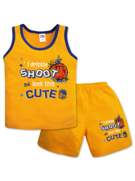 NBA Brand NBA Baby Collection Sando and Shorts Set (Hoop It Up - Warriors)