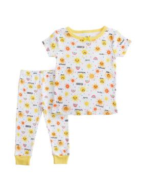 Little Steps 2-Piece Short Sleeves Sun and Rainbow PJs