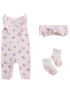 Little Steps 3-Piece Jumpsuit, Headband, And Socks Butterflies