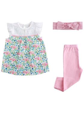 Little Steps 3-Piece Top, Pants, Headband Floral
