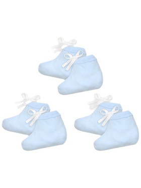 Cotton Stuff Booties with String - 3 pairs