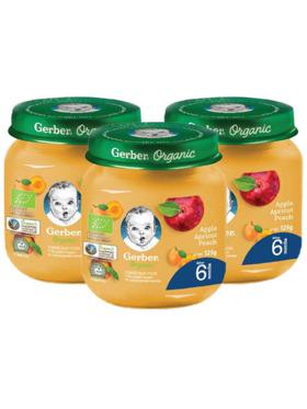Gerber Organic Organic Apple Apricot & Peach (125g) Bundle of 3