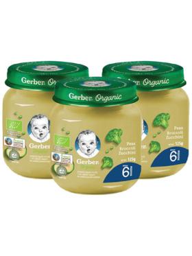 Gerber Organic Organic Peas Broccoli & Zucchini (125g) Bundle of 3