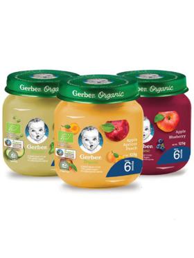 Gerber Organic Organic Puree (125g) Multipack Bundle of 3