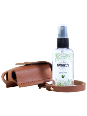 All Things Bubbly Green Tea Scent Alcohol with Leather Holder (60ml)
