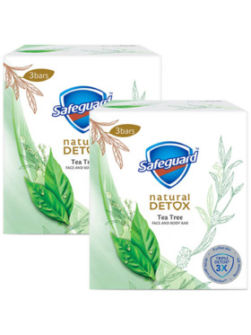 Safeguard Detox Face and Body Bar Soap Tea Tree 2-Pack (3 x 108g)