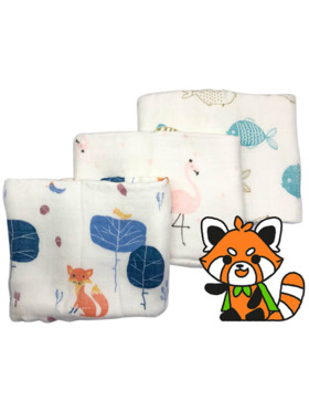 Hankoo Assorted Plus-Thick Face Towel/Burp Cloth (Set of 3)