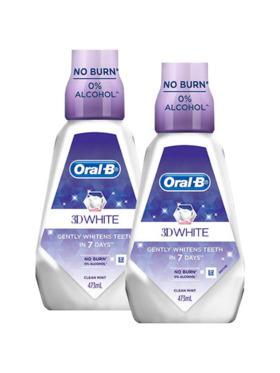 Oral-B 3D White Mouthwash 2-Pack (473ml)