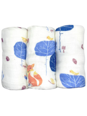 Hankoo Blue Forest Plus-Thick Face Towel/Burp Cloth (Set of 3)