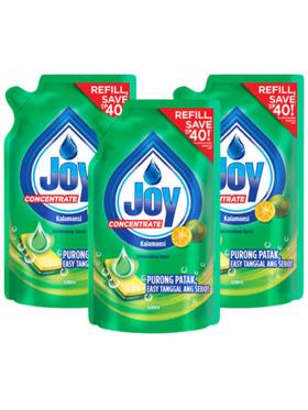 Joy Kalamansi Dishwashing Liquid Refill 3-Pack (600ml)