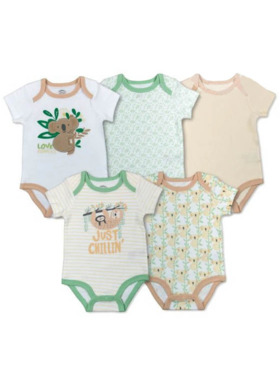 Mother's Choice Short Sleeve Just Chillin Onesie 5-Pack