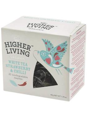 Higher Living White Tea Strawberry & Chilli 20 teapees (40g)