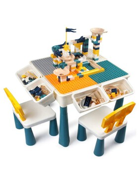 The Happy Fox 4 in 1 Play & Build Table and 2 Chairs Set