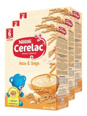 Nestle Cerelac BL Rice & Soya (250g) Bundle of 3