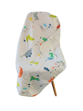 Fin's Adventures Dino 2 in 1 Hooded Muslin Swaddle/Towel