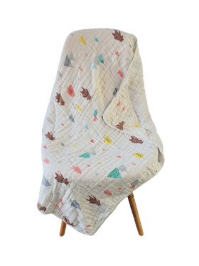 Fin's Adventures Forest Friends 2 in 1 Hooded Muslin Swaddle/Towel