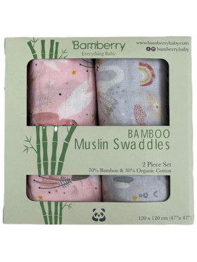 Bamberry Baby Muslin Hummingbird and Swan Swaddle Set (Bundle of 2)