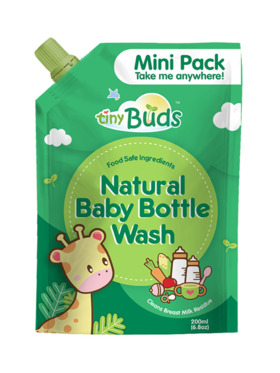 Tiny Buds Natural Baby Bottle Wash Travel Size (200ml)
