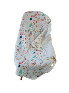 Fin's Adventures Unicorn 2 in 1 Hooded Muslin Swaddle/Towel