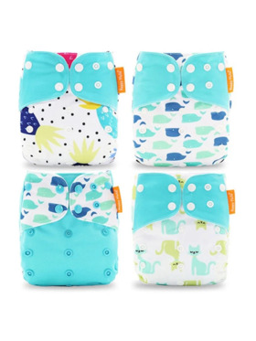 Happy Flute Whales and Cats Cloth Diapers